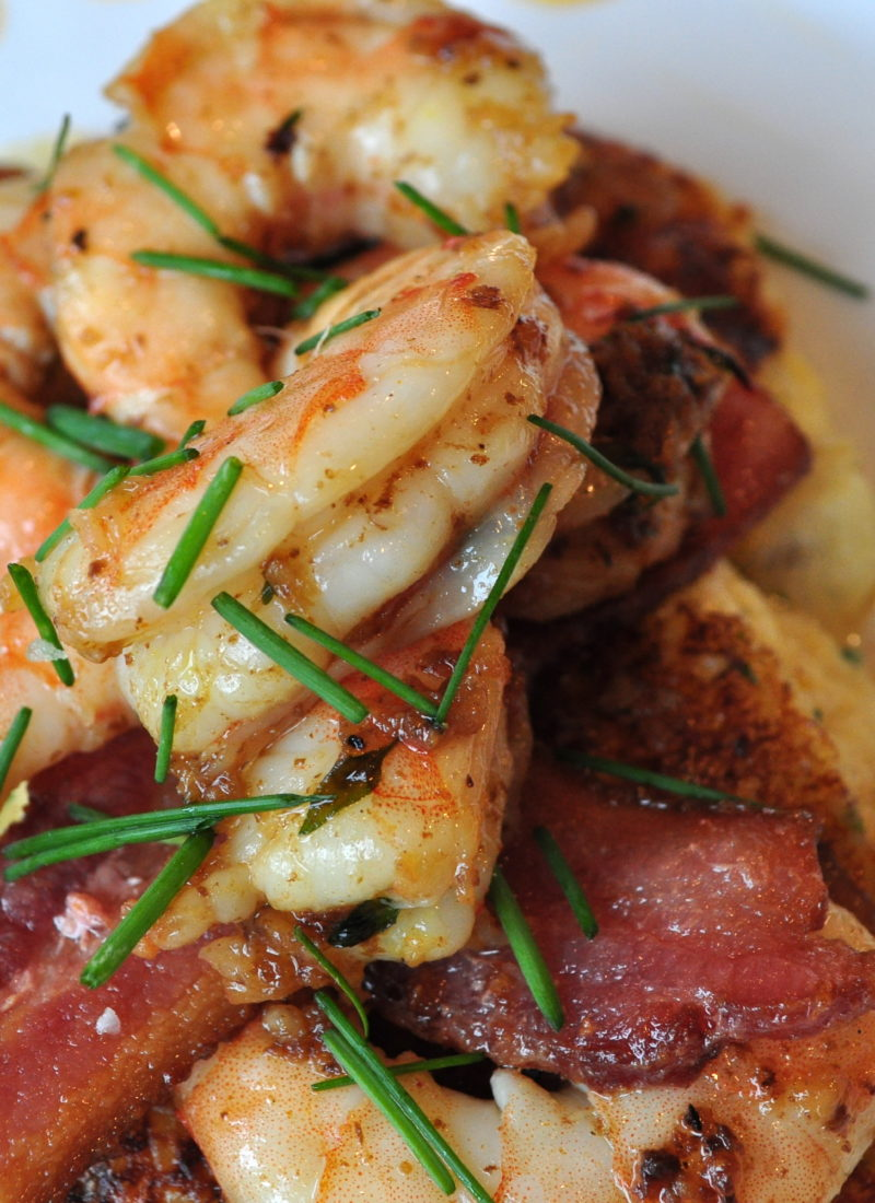 Grilled Cheese Grits Cakes with Shrimp