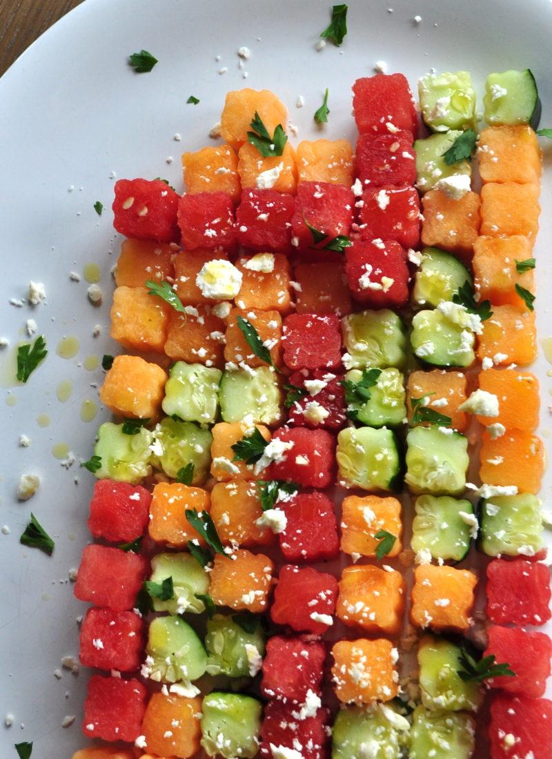 Cucumber Melon Tetris Salad With Hot Honey Vinaigrette