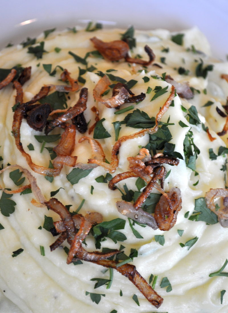 Garlic Gold Potato Mash With Crispy Fried Shallots